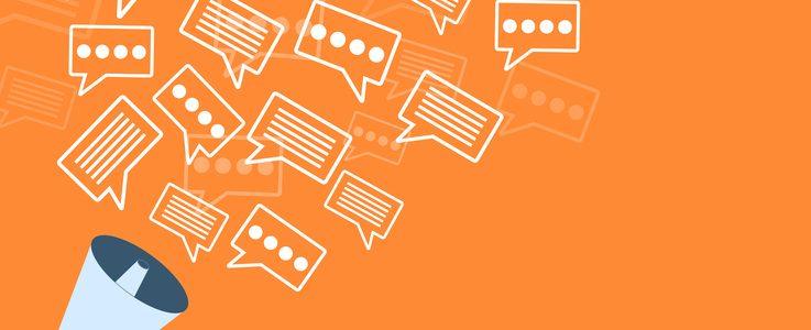 Megaphone orange advert template design